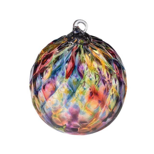 Mt. St. Helens Volcanic Ash Hand Blown Art Glass Ornament - Rainbow Diamond Facet - 3'' diameter