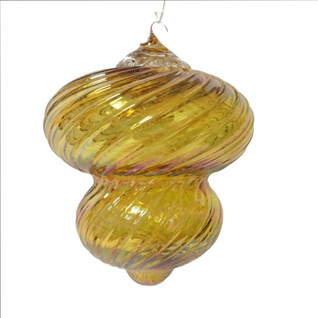 Mt. St. Helens Volcanic Ash Hand Blown Art Glass Vintage Ornament - Harlow Gold - 3'' diameter