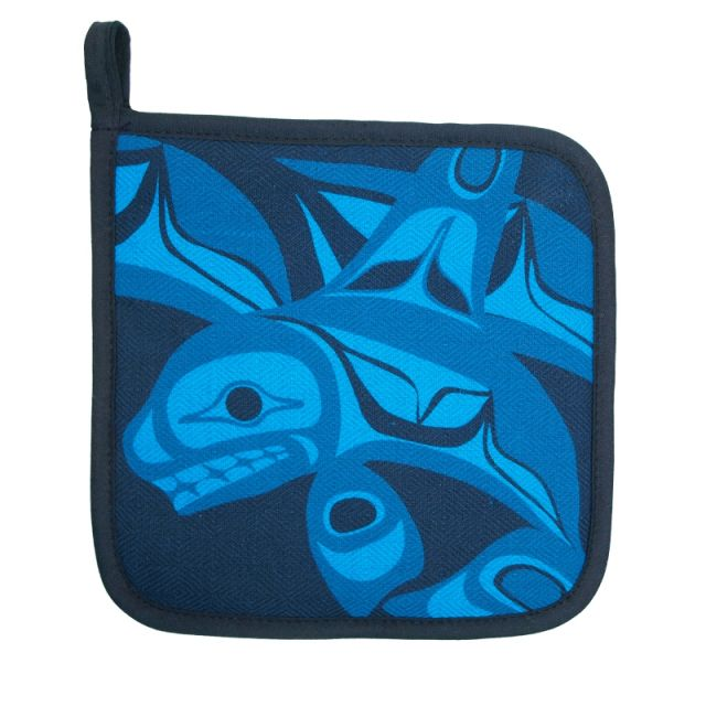 Native American Orca Whale Design Pot Holder (turquoise)