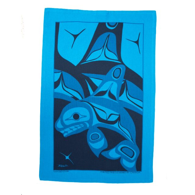 Native American Orca Whale Design Tea Towel (turquoise)