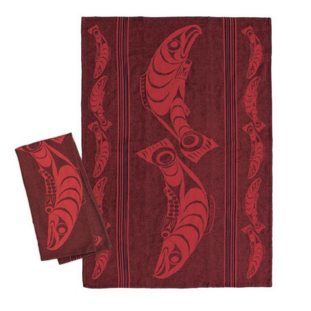 Native American - Red Salmon Design - Tea Towel