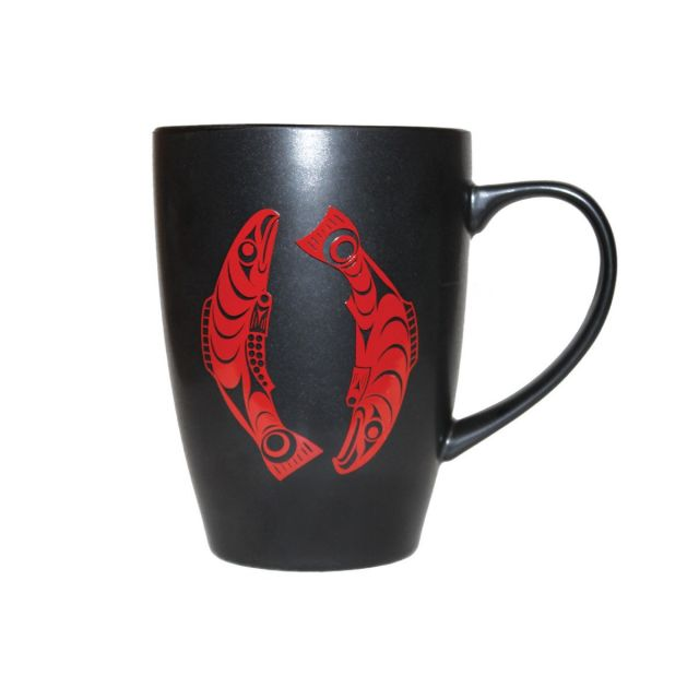Native American - Salmon - Matte Black Ceramic Mug