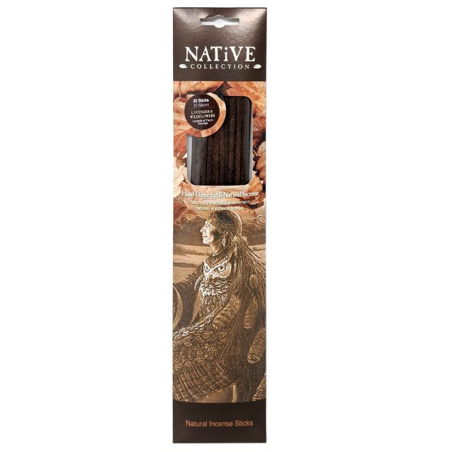 Native Collection Hand-Dipped Natural Incense - Lavender & Wildflowers - 20 sticks