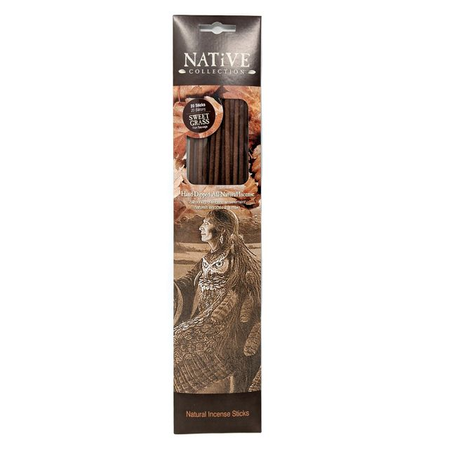 Native Collection Hand-Dipped Natural Incense - Sweet Grass - 20 sticks