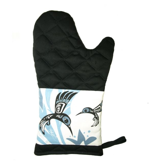 North Coast Indian Hummingbird Design Oven Mitt (Blue) - by Tsimshian native artist Bill Helin