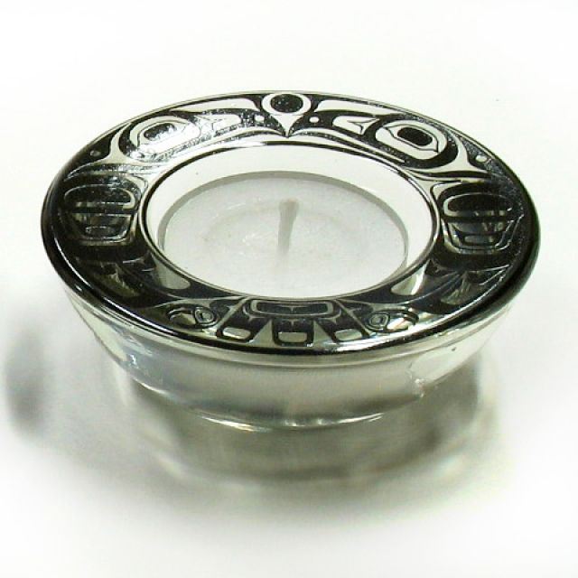 Northwest Coast Indian Tea Candle Holder - black - 3