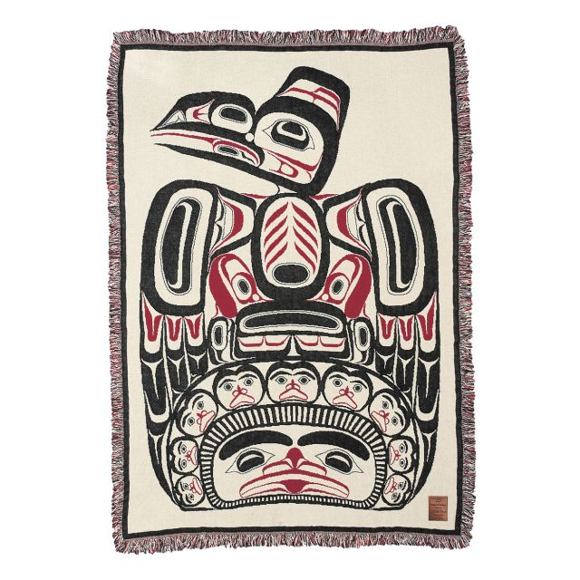 Pacific Northwest Coast Native American - Children of the Raven - Cotton Throw Blanket - by Northwest Coast Indian artist Bill Reid - 48