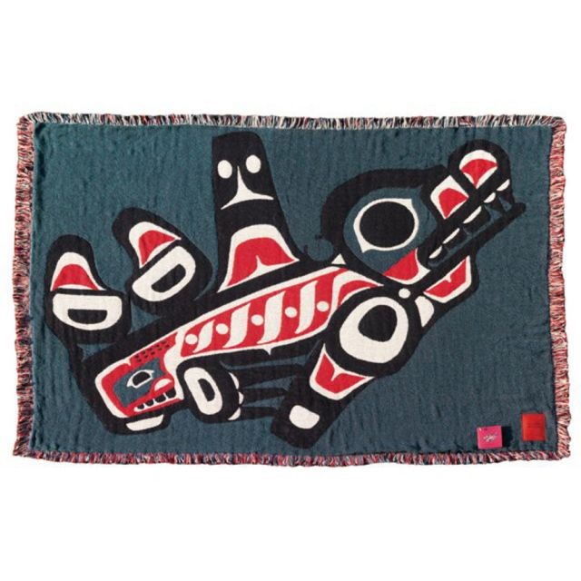 Pacific Northwest Coast Native American - Orca Whale - Cotton Throw Blanket - by Joe Mandur Jr - approx: 48