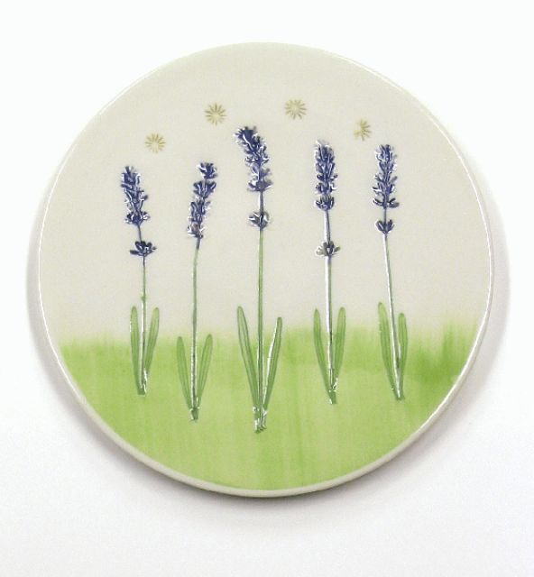 Porcelain Pottery Lavender Trivet or Wall Hanging - By Mike and Donna Day - 7.25