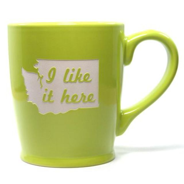 Washington State - I Like It Here Mug - Lime Green